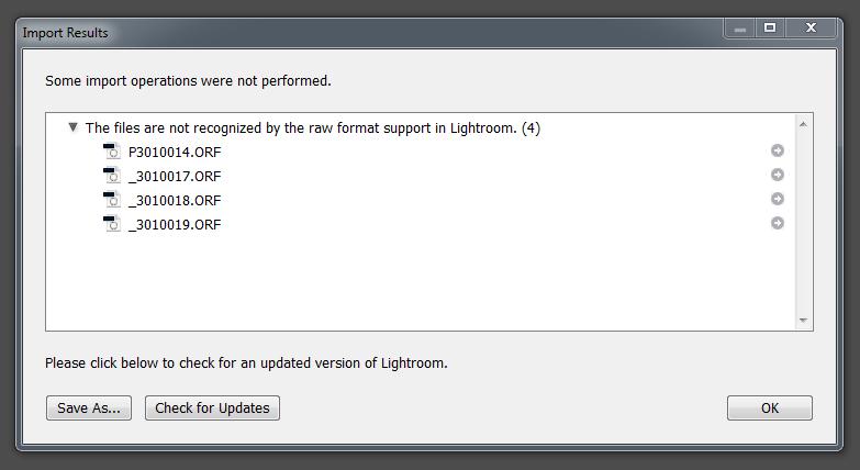 Files not recognized Lightroom